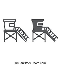 Lifeguard tower line and glyph icon, tourism and beach, ...
