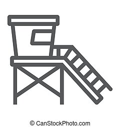 Lifeguard tower line icon, tourism and beach, beach ...