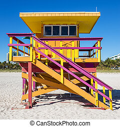 Lifeguard Tower, Miami Beach, Florida - Colorful Lifeguard...