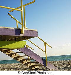 Lifeguard tower, Miami, Florida.