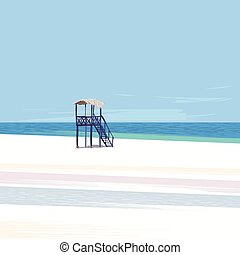 Lifeguard tower on a white sand beach with blue sky and sun...