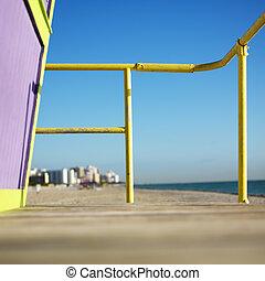 Lifeguard tower on beach.