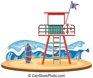Lifeguard tower on beach illustration
