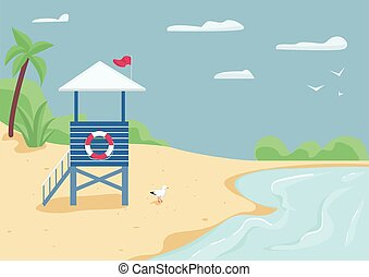 Lifeguard tower on sand beach flat color vector illustration...
