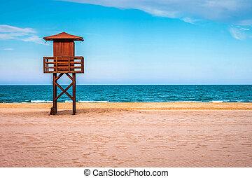 Lifeguard tower on the sea beach