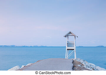 Lifeguard Tower on the sea port