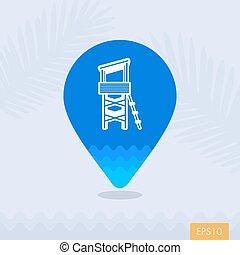 Lifeguard tower pin map icon. Summer. Vacation - Lifeguard ...