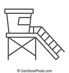 Lifeguard tower thin line icon, tourism and beach, beach ...