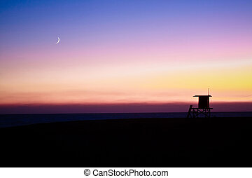 Lifeguard Tower with Moon