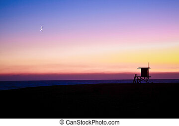 Lifeguard Tower with Moon - The Wedge is a spot located at...
