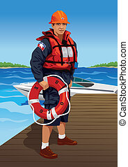 Lifeguard - Vector illustration of a life guard standing on...