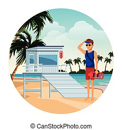 lifeguard with tower and torpedo buoy hat sunglasses round ...