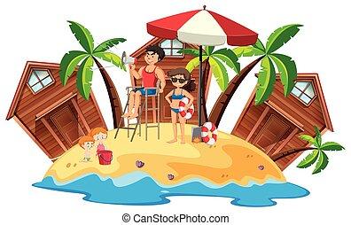 Lifeguards on beach island