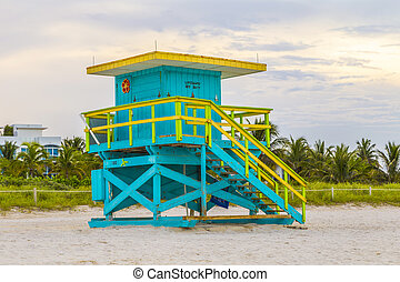 Lifeguards outpost tower in South Beach, Miami, Florida