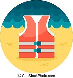 Lifejacket flat icon, vector illustration eps 10