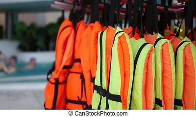Lifejackets closeup. Safety on the water - Safety on the...