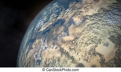 Lifeless planet is close to sun. Movement of celestial bodies in space.