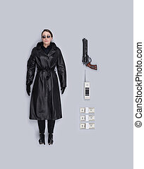 Lifelike female spy agent doll