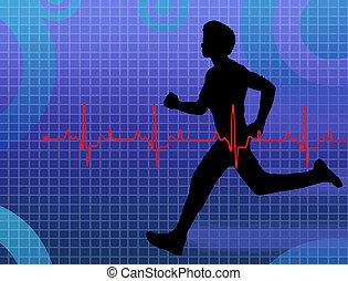 Lifeline - A cardiogram and a physical fitness exam, vector...