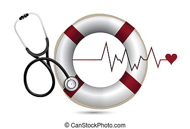 lifeline and lifebuoy with a Stethoscope illustration design...