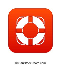 Lifeline icon digital red for any design isolated on white...