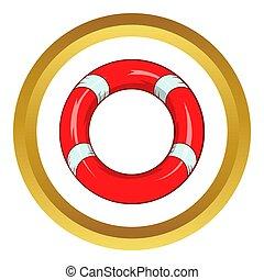 Lifeline icon in golden circle, cartoon style isolated on...