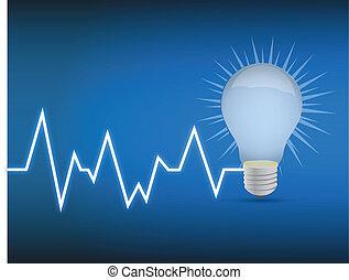 lifeline lightbulb illustration design over a blue...