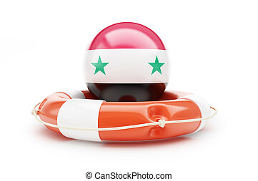 lifeline of the Flag of Syria. 3D illustration on a white background