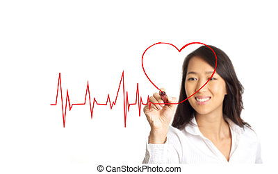 lifeline with heart love concept - Beauty Asian woman...