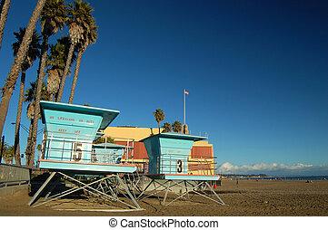 Liferguard Stations - Lifeguard huts at the boardwalk in...