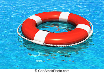 Lifesaver belt in the blue water