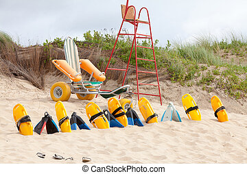 Lifesaver chair and equipment on the beach