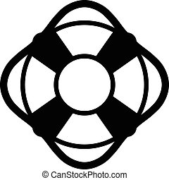 Lifesaver icon with a simple black silhouette of a life ring...