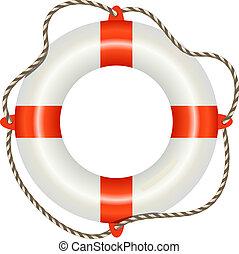 lifesaver, zeebaken, vrijstaand, op wit, achtergrond