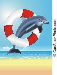 Lifesaving Dolphin Illustration. Dolphin Jumping Thru the...