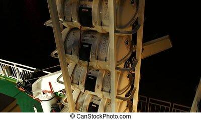 Lifesaving equipment on deck of a cruise ship