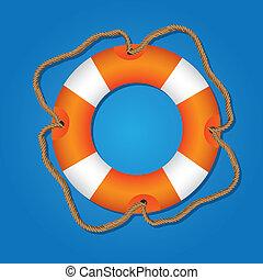 lifesaving float, orange and white, isolated on blue background