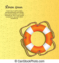 lifesaving float, orange and white, with rope