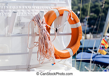 Lifesaving ring on yacht - Personal flotation device on...