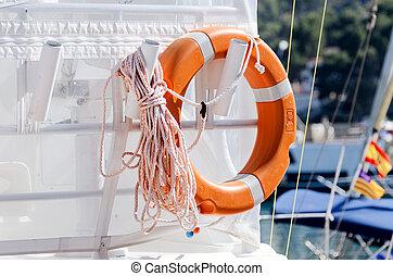 Lifesaving ring on yacht