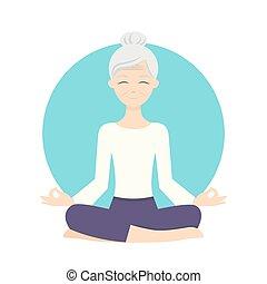 lifestyle., γιόγκα , υγιεινός , εικόνα , γυναίκα , exercises., άσκηση , αρχαιότερος