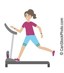 lifestyle., υγιεινός , τρέξιμο , καταλληλότητα , classes., κορίτσι , treadmill.