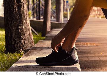 lifestyle., 靴, 得ること, ランナー, 健康, 動くこと, 準備ができた, つらい, run.