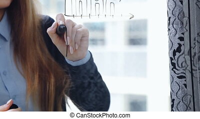 Lifestyle: beautiful young woman drawing math business graphs on the glass with skyscraper on background. Southpaw. Close-up shot, static.