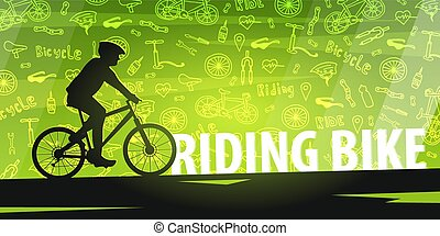 lifestyle., bicikli, illustration., szórakozottan firkálgat, sport, háttér., vektor, aktivál, lovaglás, transzparens