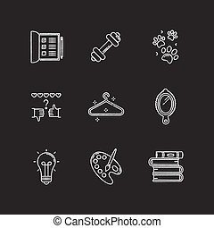 Lifestyle chalk white icons set on black background. List for work. Sport activities. Pet paws print. Review rate. Glowing light bulb. Creative hobby. Isolated vector chalkboard illustrationss
