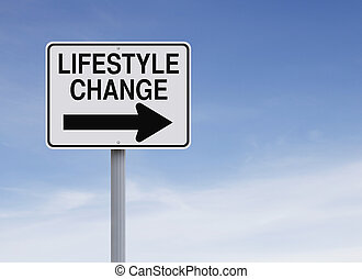 Lifestyle Change - A conceptual one way sign indicating...