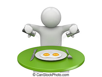 Lifestyle collection - Breakfast - 3d characters isolated on...
