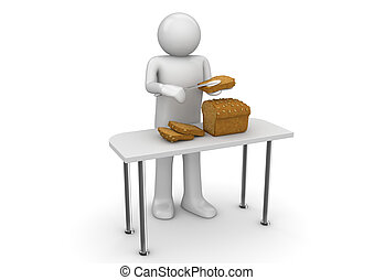 Lifestyle collection - Butter bread - 3d characters isolated...