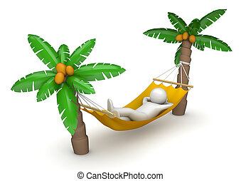 Lifestyle collection - Lying in hammock - 3d characters...
